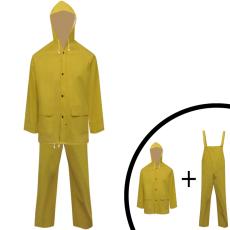 vidaXL 2 darabos vízálló nagy teherbírású csuklyás eső ruha méret M sárga