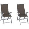 vidaXL 2 db dönthető tömör akácfa kerti szék párnával