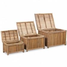 vidaXL 3 db bambusz tárolóláda bútor