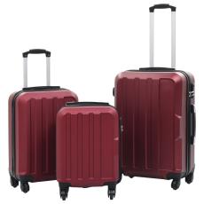 vidaXL 3 db bordó keményfalú ABS gurulós bőrönd
