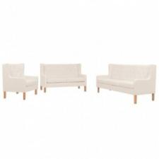 vidaXL 3 részes krémfehér szövet kanapészett bútor
