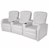 vidaXL 3 személyes műbőr dönthető támlájú fotel fehér