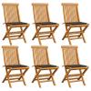vidaXL 6 db tömör tíkfa kerti szék tópszínű párnával