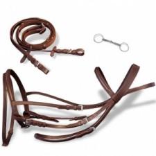 vidaXL Bőr kantár és zabla méret: Full barna lófelszerelés