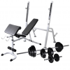 vidaXL edzőpad állvánnyal, egykezes és kétkezes súlyzószettel 30,5 kg