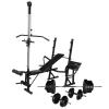 vidaXL edzőpad állvánnyal, egykezes és kétkezes súlyzószettel 60,5 kg
