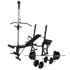 vidaXL edzőpad állvánnyal, egykezes és kétkezes súlyzószettel 60,5 kg edzőpad