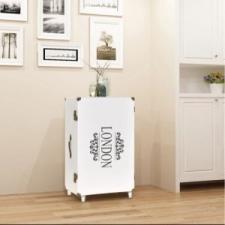 vidaXL Fehér bőrönd alakú kis szekrény 40 x 30,5 x 81 cm kézitáska és bőrönd