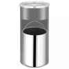 vidaXL Fekete acél fali szemeteskuka hamutartóval 26 liter
