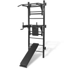 vidaXL fekete, falra szerelhető, többfunkciós edzőtorony edzőpad