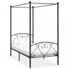 vidaXL Fekete fém baldachinos ágykeret 90 x 200 cm