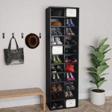 vidaXL fekete forgácslap cipősszekrény 54 x 34 x 183 cm kerti bútor