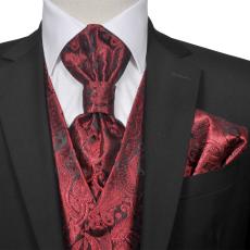 vidaXL Férfi Praisley esküvői mellény szett méret 50 burgundi bőr szín