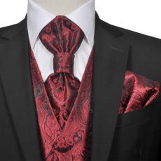 vidaXL Férfi Praisley esküvői mellény szett méret 56 burgundi bőr szín