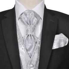 vidaXL Férfi Praisley esküvői mellény szett méret 56 ezüst szín