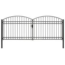 vidaXL ívelt tetejű kétajtós fekete acél kerítéskapu 400 x 175 cm kerti dekoráció