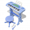 vidaXL Játék 37 billentyűs zongora székkel és mikrofonnal kék