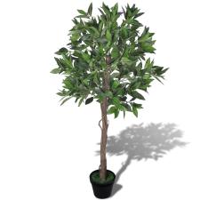 vidaXL Mesterséges Babérfa Edény 120 cm fa és növény