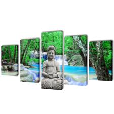 vidaXL Nyomtatott vászon falikép szett Buddha 100 x 50 cm grafika, keretezett kép