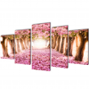 vidaXL Nyomtatott vászon falikép szett cseresznyevirágzás 200 x 100 cm