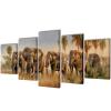 vidaXL Nyomtatott vászon falikép szett elefántok 100 x 50 cm