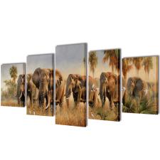 vidaXL Nyomtatott vászon falikép szett elefántok 100 x 50 cm grafika, keretezett kép