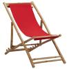 vidaXL piros bambusz és vászon napozószék