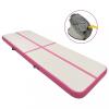 vidaXL Rózsaszín pvc felfújható tornamatrac pumpával 400 x 100 x 20 cm