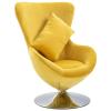 vidaXL sárga tojás alakú bársony forgószék párnával