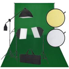 vidaXL Stúdió Felszerelés: Zöld Háttér, 3 Nappali Lámpa és Reflektor világítás