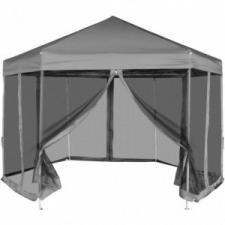 vidaXL Szürke hatszög alakú pavilon 6 db oldalfallal 3,6 x 3,1 m kerti bútor