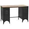 vidaXL tömör fenyőfa és acél kétszekrényes íróasztal 100 x 50 x 76 cm