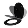 vidaXL WC ülőke MDF puha lezáró egyszerű kivitel Fekete