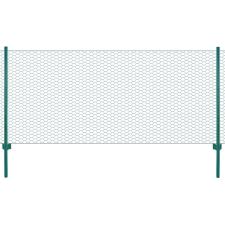 vidaXL zöld acél drótkerítés tartóoszlopokkal 25 x 0,75 m kerti dekoráció