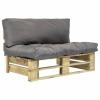 vidaXL Zöld FSC fa kerti raklap kanapé szürke párnákkal
