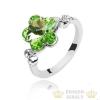 Virág formájú gyűrű, Peridot zöld, Swarovski köves, 7,25