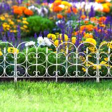"""Virágágyás szegély / kerítés fehér """"kovácsoltvas műanyag 60 x 38 cm kerti dekoráció"""
