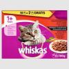 Whiskas Húsos-Zöldséges Válogatás teljes értékű eledel felnőtt macskák számára mártásban 12 x 100 g