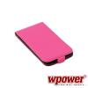 WPOWER Samsung Galaxy S5 valódi bőr telefontok, hot-pink (3468)