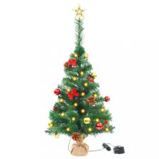 Zöld műfenyő karácsonyfa díszekkel és LED fényekkel 64 cm kerti dekoráció