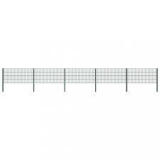 Zöld vas kerítéspanel oszlopokkal 8,5 x 0,8 m kerti dekoráció
