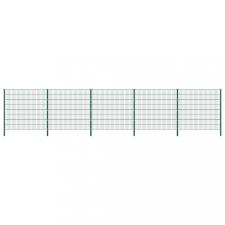 Zöld vas kerítéspanel oszlopokkal 8,5 x 1,6 m kerti dekoráció