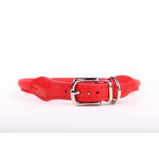 Zooleszcz Kerek (csatos) bőr nyakörv - Piros nyakörv, póráz, hám kutyáknak
